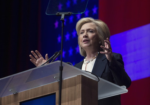 U.S. Democratic presidential candidate and former Secretary of State Hillary Clinton speaks at the National Association of Latino Elected and Appointed Officials (NALEO) convention in Las Vegas