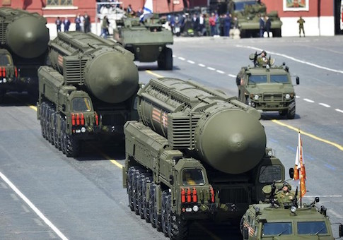 Russian RS-24 Yars/SS-27 Mod 2 solid-propellant intercontinental ballistic missiles drive during the Victory Day parade at Red Square in Moscow