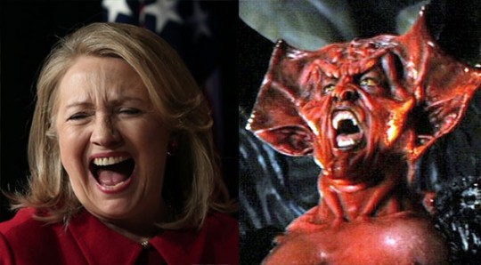 Hillary Clinton (left) and the Prince of Darkness