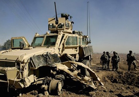 A damaged MRAP