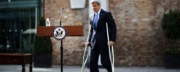 John Kerry outside the hotel where the Iranian nuclear talks are being held / AP
