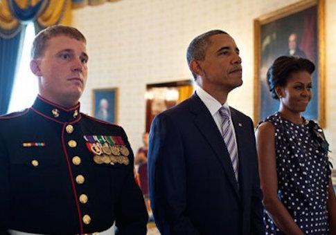Dakota Meyer, President Obama and Michelle Obama