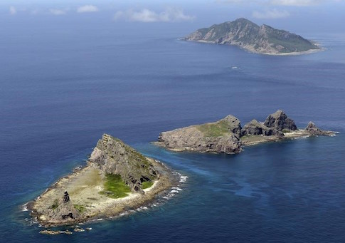 A group of disputed islands, Uotsuri island , Minamikojima and Kitakojima, known as Senkaku in Japan and Diaoyu in China is seen in the East China Sea
