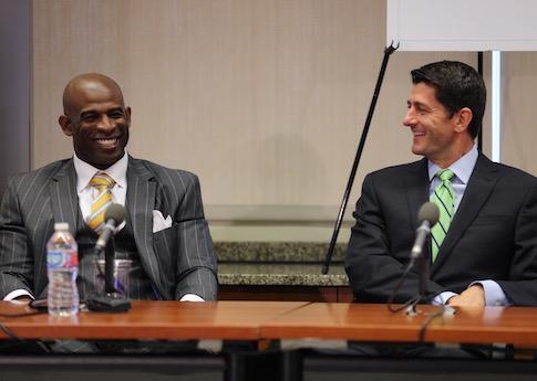 Deion Sanders and Rep. Paul Ryan (R., Wisco.) in Washington, D.C.