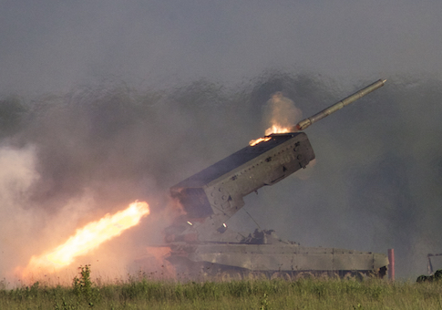 Russian TOS-1A Solntsepyok (Sunheat) heavy flame throwing launcher fires during the Army-2015 show at a shooting range in Alabino, outside of Moscow, Russia, on Tuesday, June 16