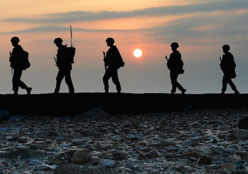 South Korean marines patrol along a bank of a shore on Yeonpyeong island just south of Northern Limit Line (NLL), South Korea