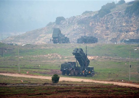 Launching vehicles of the patriot surface-to-air missile systems photographed in Kahramanmaras, Turkey