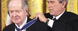 President Bush presents the Presidential Medal of Freedom to historian Robert Conquest