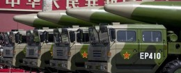 Military vehicles carrying DF-26 ballistic missiles, drive past Tiananmen Gate during a military parade to commemorate the 70th anniversary of the end of World War II, in Beijing Thursday, Sept. 3, 2015 / AP