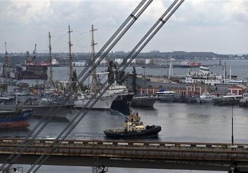 Ukraine's navy ships are docked along with cargo vessels in Odessa, Ukraine
