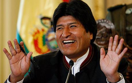 Evo Morales...Bolivia's President Evo Morales gestures during a press conference at the presidential palace in La Paz, Saturday, Jan. 24, 2009. Bolivians could approve, in a referendum on Sunday, a new constitution proposed by Morales and opposed by the a majority of the middle and upper classes.  (AP Photo/Juan Karita)