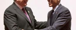 Obama bro-hugs ousted Ukrainian president Viktor Yanukovych in 2010. (AP)