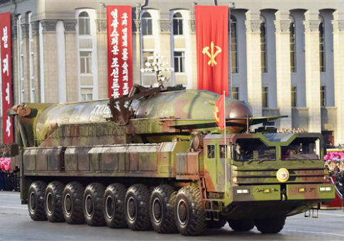 Missile appears in a military parade to mark the 70th anniversary of the Workers' Party / AP