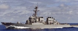 The guided-missile destroyer USS Higgins transits the Pacific Ocean.