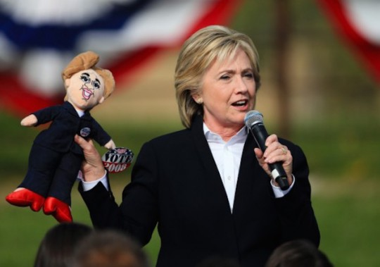 Hillary Clinton (right) speaks to supporters. (AP)