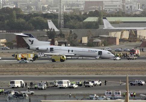An Iran Air Boeing 727 lands in Tehran / AP