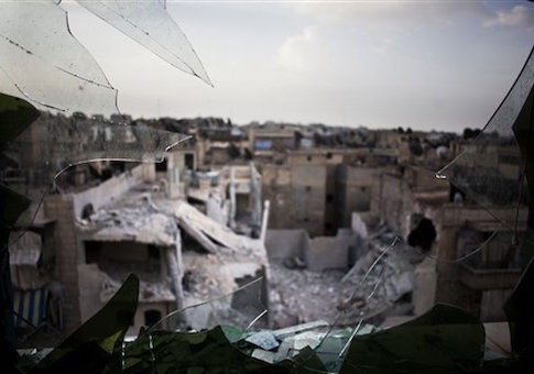 Damaged buildings from shelling in Aleppo