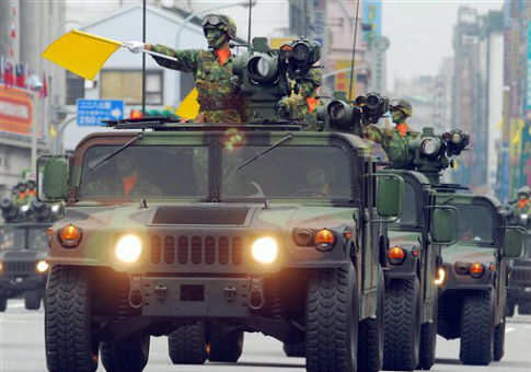 Taiwanese military vehicles armed with U.S.-made TOW anti-tank missiles / AP