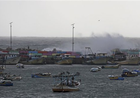 Palestinian boats parked in the fishermen's port in Gaza City, in the northern Gaza Strip