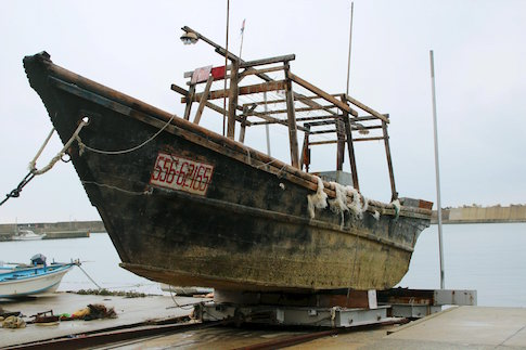 Unidentified wooden boat which was found in the sea off Noto Peninsula, is seen in Wajima