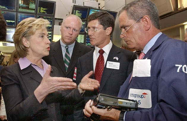 Hillary Clinton on floor of New York Stock Exchange / AP