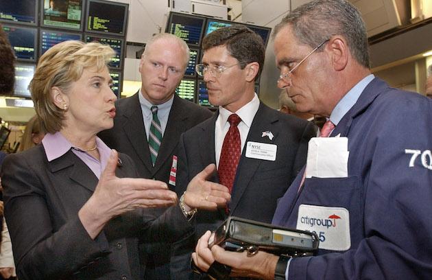 Hillary Clinton on floor of New York Stock Exchange / AP