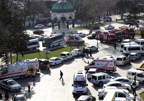 Ambulances and firefighters in Istanbul / IHA via AP