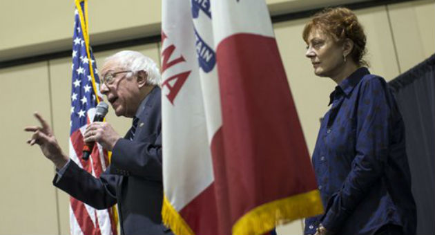 Bernie Sanders and Susan Sarandon / AP