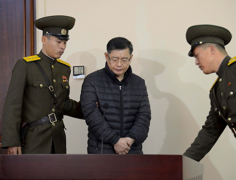 South Korea-born Canadian pastor Hyeon Soo Lim stands during his trial at a North Korean court in this undated photo released by North Korea's Korean Central News Agency (KCNA) in Pyongyang