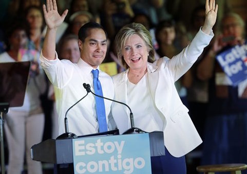 Julian Castro and Hillary Clinton / AP
