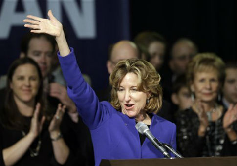 Kay Hagan waves to supporters while delivering her concession speech n Greensboro, N.C. / AP