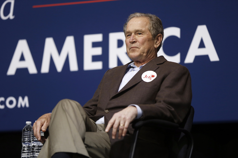 Former President George W. Bush campaigns for his brother Republican presidential candidate, former Florida Gov. Jeb Bush Monday, Feb. 15, 2016, in North Charleston, S.C. (AP Photo/Matt Rourke)