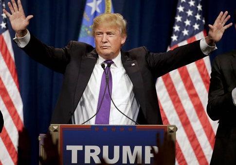 Donald Trump at a caucus night rally in Las Vegas / AP