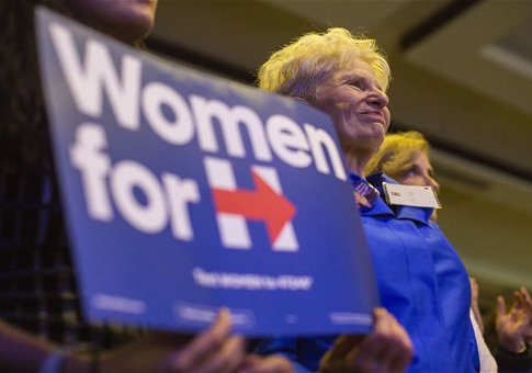 Female senators hold endorsement event for Hillary Clinton / CQ Roll Call via AP