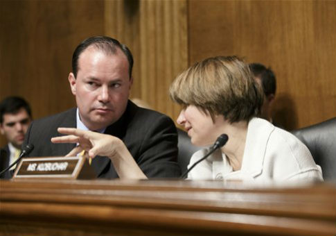 Sens. Mike Lee (R., Utah) and Amy Klobuchar (D., Minn.) / AP