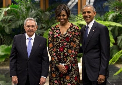 Cuban President Raul Castro with Michelle and Barack Obama / AP