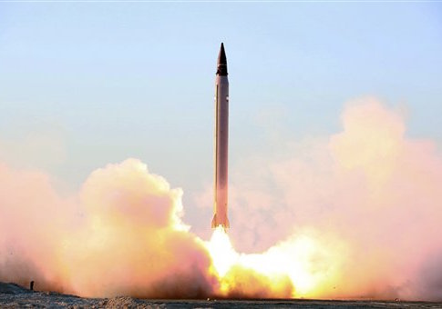 This file picture claims to show Iran's launching of an Emad long-range ballistic surface-to-surface missile