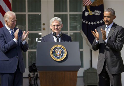 Judge Merrick Garland, flanked by Vice President Joe Biden and President Barack Obama / AP