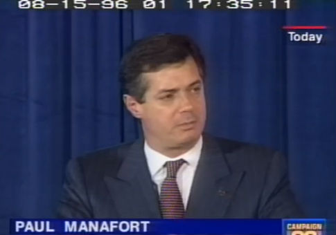 Paul Manafort at the Republican presidential convention in 1996. / Screenshot from CSPAN