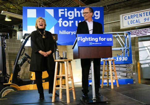 Hillary Clinton and Labor Secretary Thomas Perez / AP