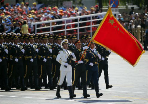 Chinese soldiers march during a military parade / AP