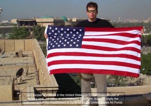 Jon Keyser standing atop Saddam Hussein's palace in Iraq / Facebook