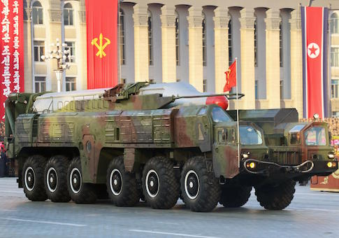 North Korea Musudan intermediate-range ballistic missile showcased during a military parade in Pyongyang