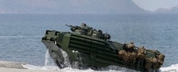 A U.S. Navy amphibious assault vehicle is seen on a beach facing Scarborough Shoal. / AP