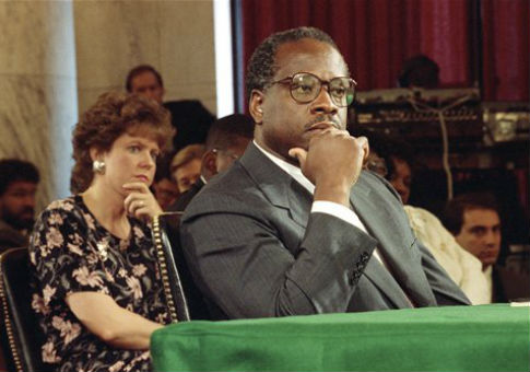 Judge Clarence Thomas and wife Virginia during nomination hearings in 1991 / AP