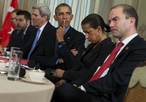 Ben Rhodes (right), the deputy national security adviser for strategic communications / AP