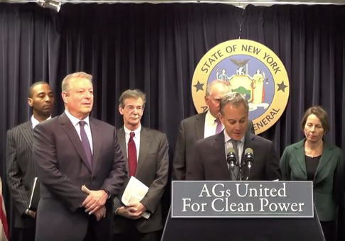 Virgin Islands Attorney General Claude Walker (far left), with other members of a legal coalition targeting climate change skeptics / Screenshot from YouTube