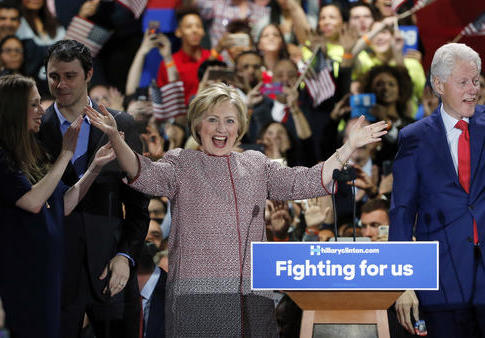 Hillary Clinton celebrates after winning the New York primary