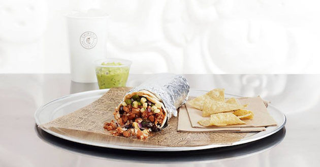 A Chipotle burrito via Chipotle's Facebook page