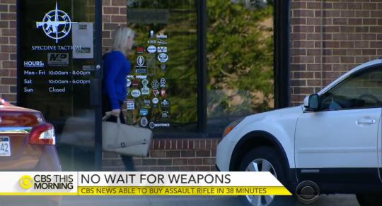 CBS News reporter Paula Reid exits SpecDive Tactical, a Virginia gun shop / Screenshot from CBS News
